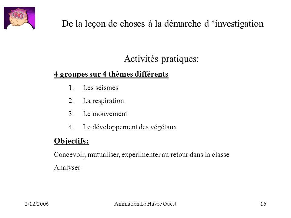 2/12/2006Animation Le Havre Ouest16 De la leçon de choses à la démarche d investigation Activités pratiques: 4 groupes sur 4 thèmes différents 1.Les s