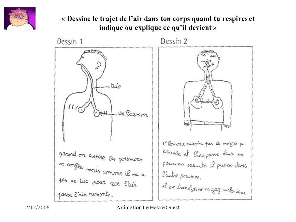 2/12/2006Animation Le Havre Ouest « Dessine le trajet de lair dans ton corps quand tu respires et indique ou explique ce quil devient »
