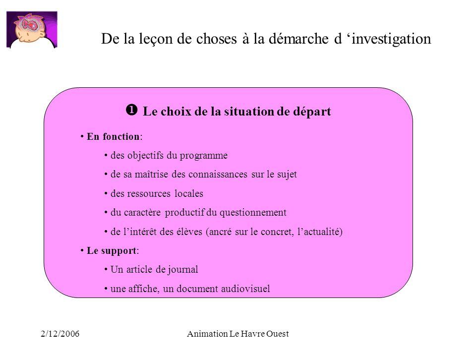 2/12/2006Animation Le Havre Ouest De la leçon de choses à la démarche d investigation Le choix de la situation de départ En fonction: des objectifs du