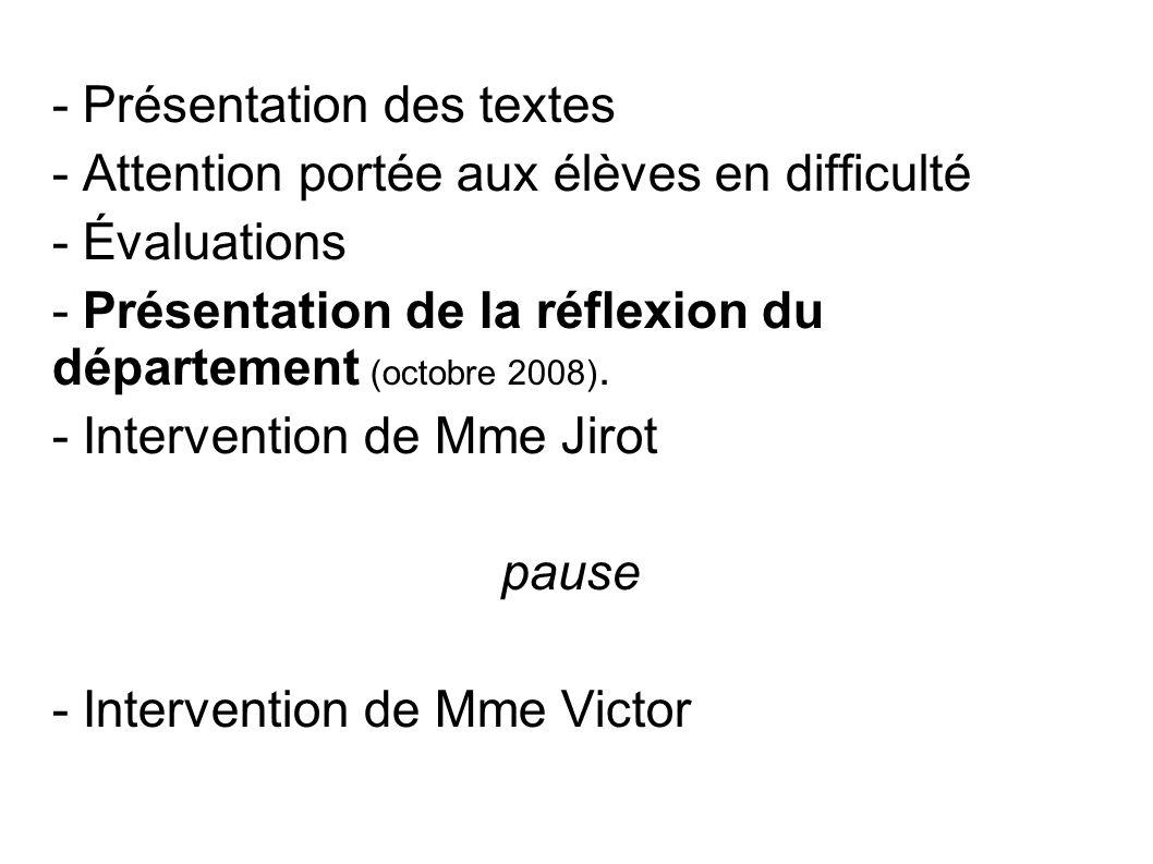 - Présentation des textes - Attention portée aux élèves en difficulté - Évaluations - Présentation de la réflexion du département (octobre 2008).