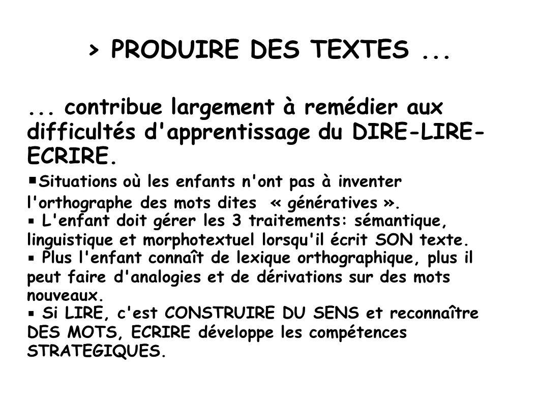 > PRODUIRE DES TEXTES......
