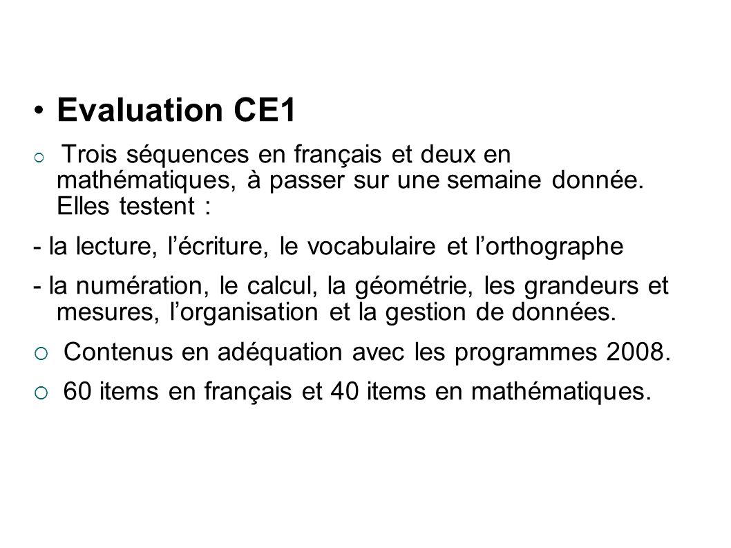 Evaluation CE1 Trois séquences en français et deux en mathématiques, à passer sur une semaine donnée.