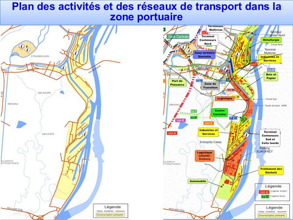 Plan des activités et des réseaux de transport dans la zone portuaire