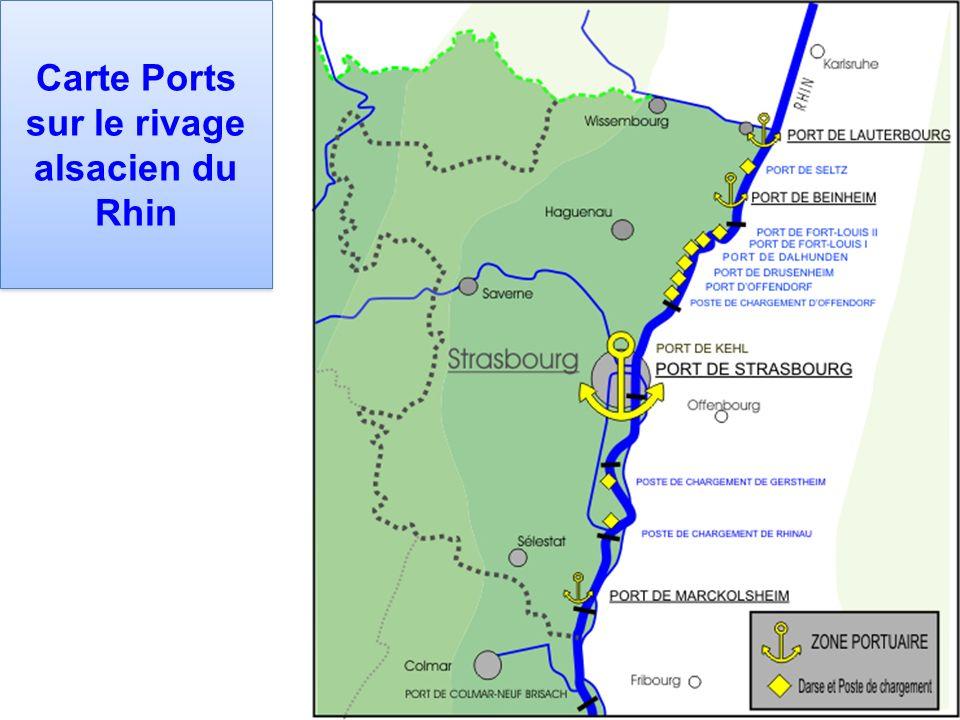 Carte Ports sur le rivage alsacien du Rhin