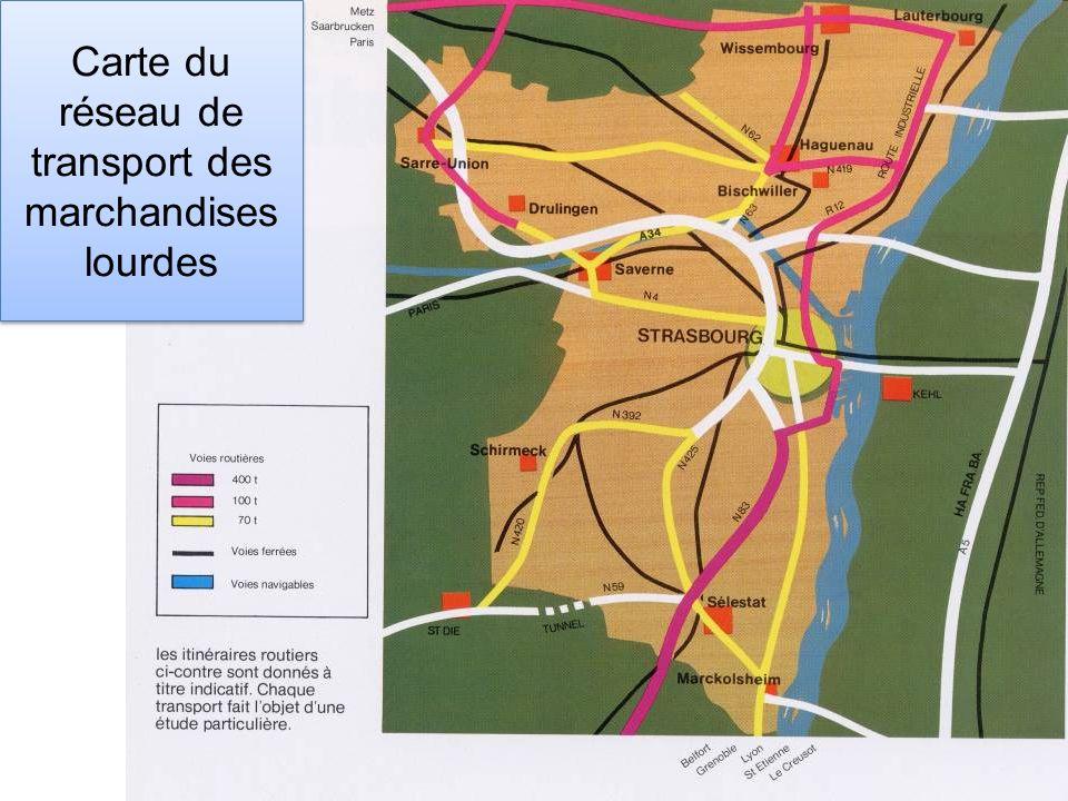 Carte du réseau de transport des marchandises lourdes