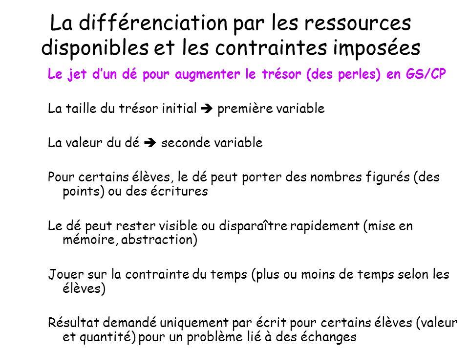 La différenciation par les ressources disponibles et les contraintes imposées Le jet dun dé pour augmenter le trésor (des perles) en GS/CP La taille d