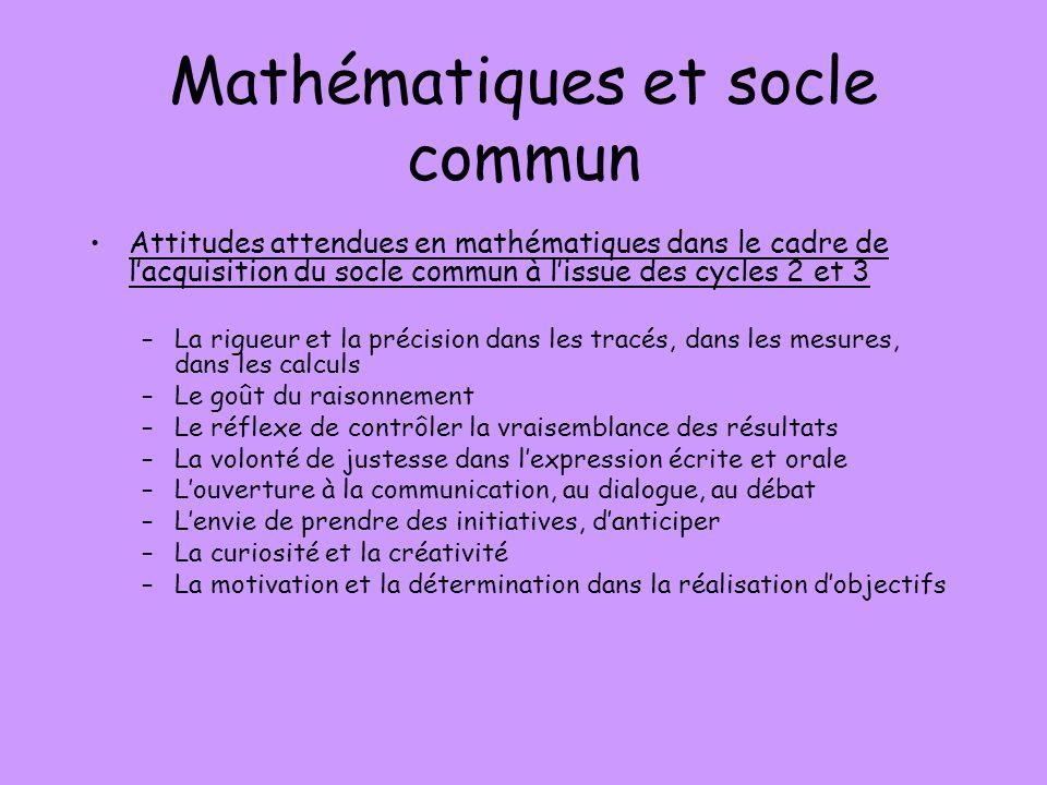 Mathématiques et socle commun Attitudes attendues en mathématiques dans le cadre de lacquisition du socle commun à lissue des cycles 2 et 3 –La rigueu