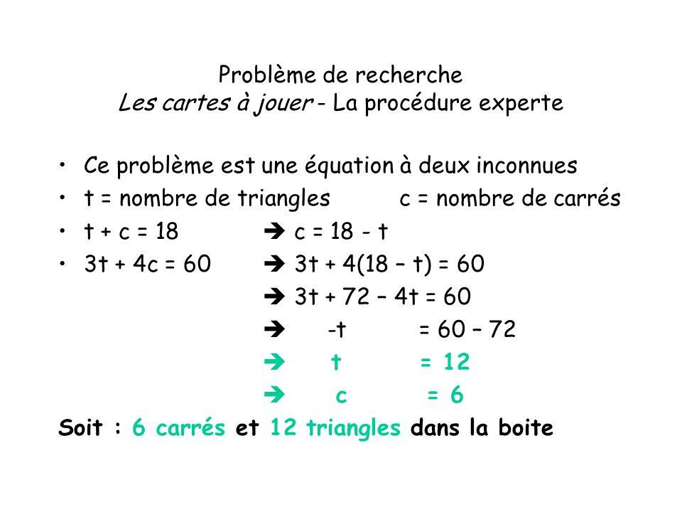 Problème de recherche Les cartes à jouer - La procédure experte Ce problème est une équation à deux inconnues t = nombre de trianglesc = nombre de car