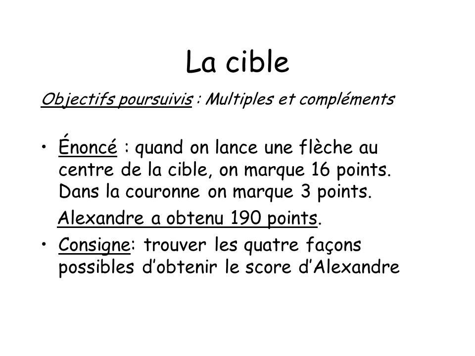 La cible Objectifs poursuivis : Multiples et compléments Énoncé : quand on lance une flèche au centre de la cible, on marque 16 points. Dans la couron