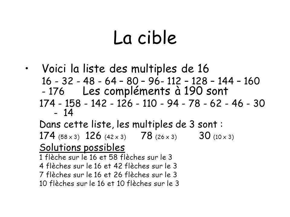 La cible Voici la liste des multiples de 16 16 - 32 - 48 - 64 – 80 – 96- 112 – 128 – 144 – 160 - 176 Les compléments à 190 sont 174 - 158 - 142 - 126