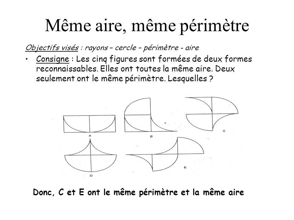 Même aire, même périmètre Objectifs visés : rayons – cercle – périmètre - aire Consigne : Les cinq figures sont formées de deux formes reconnaissables
