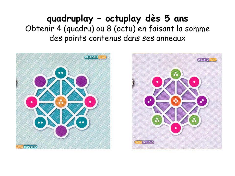 quadruplay – octuplay dès 5 ans Obtenir 4 (quadru) ou 8 (octu) en faisant la somme des points contenus dans ses anneaux
