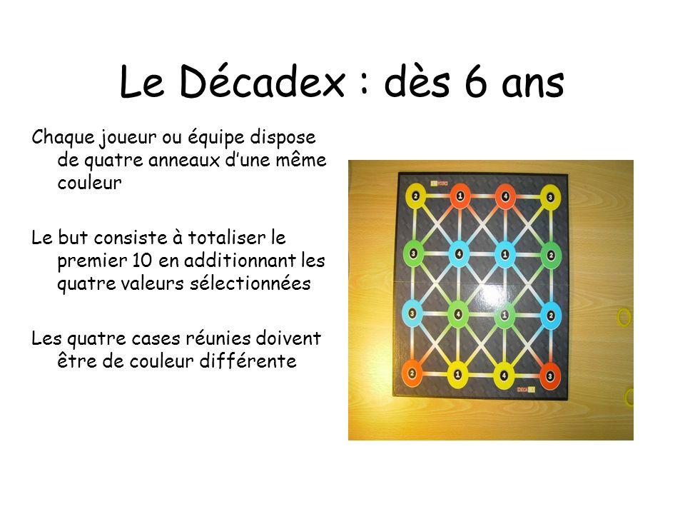 Le Décadex : dès 6 ans Chaque joueur ou équipe dispose de quatre anneaux dune même couleur Le but consiste à totaliser le premier 10 en additionnant l