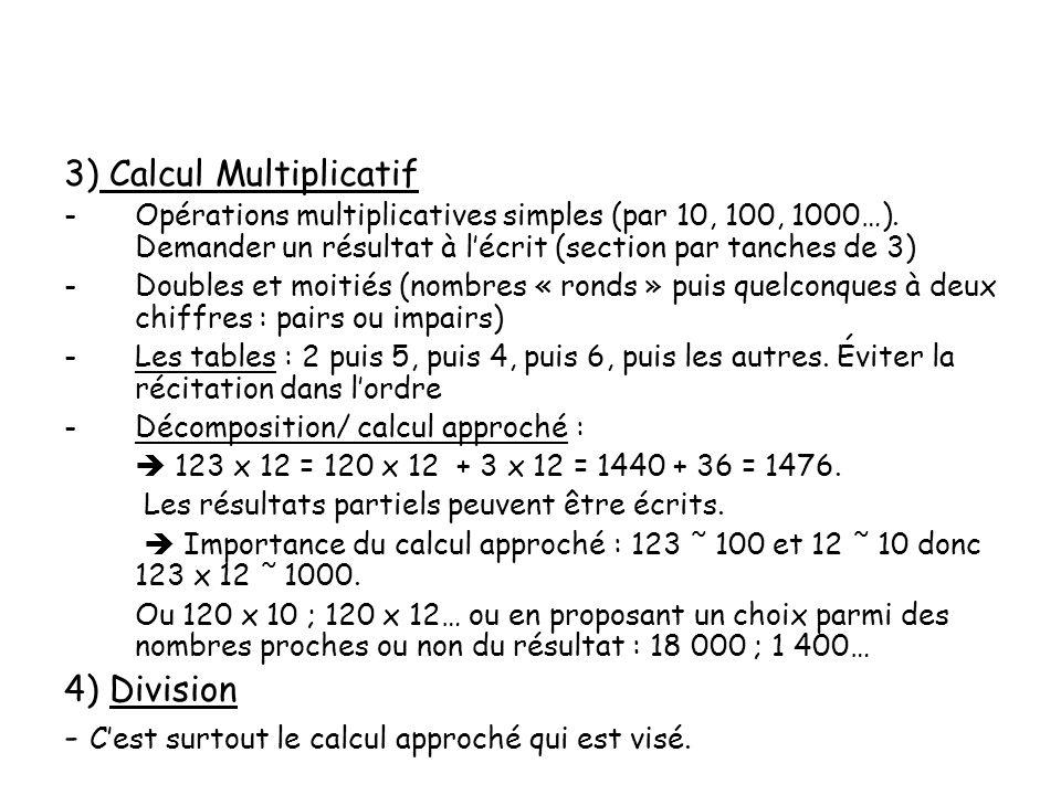 3) Calcul Multiplicatif -Opérations multiplicatives simples (par 10, 100, 1000…). Demander un résultat à lécrit (section par tanches de 3) -Doubles et