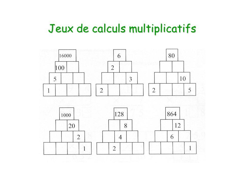 Jeux de calculs multiplicatifs
