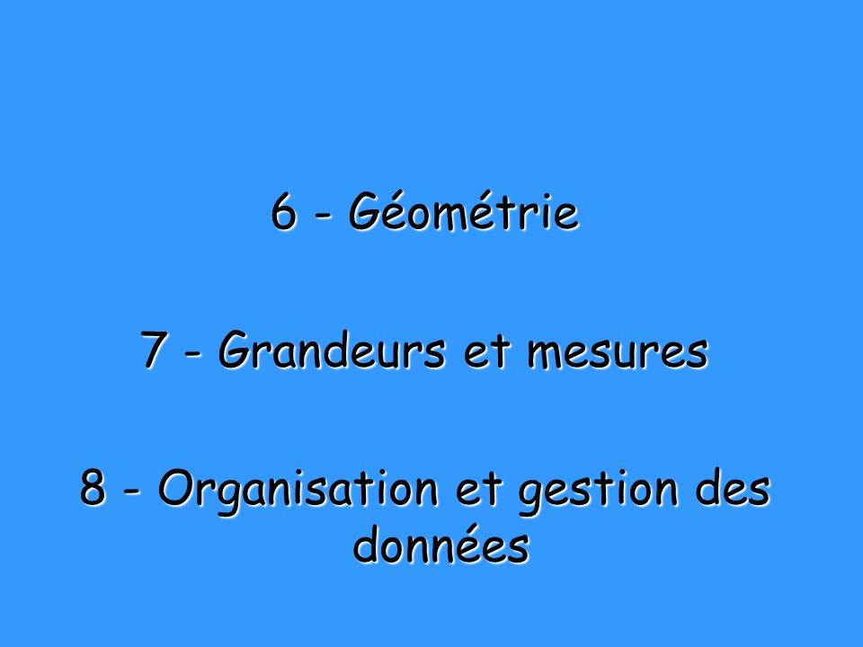 6 - Géométrie 7 - Grandeurs et mesures 8 - Organisation et gestion des données