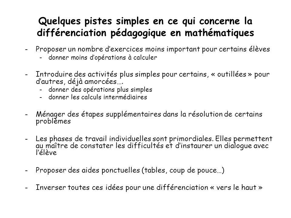 Quelques pistes simples en ce qui concerne la différenciation pédagogique en mathématiques -Proposer un nombre dexercices moins important pour certain