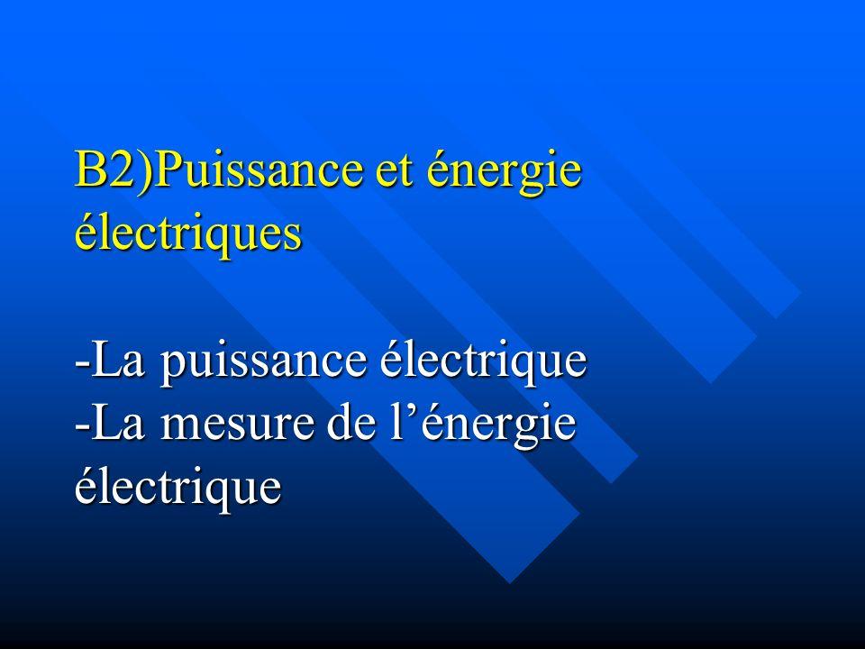 B2)Puissance et énergie électriques -La puissance électrique -La mesure de lénergie électrique