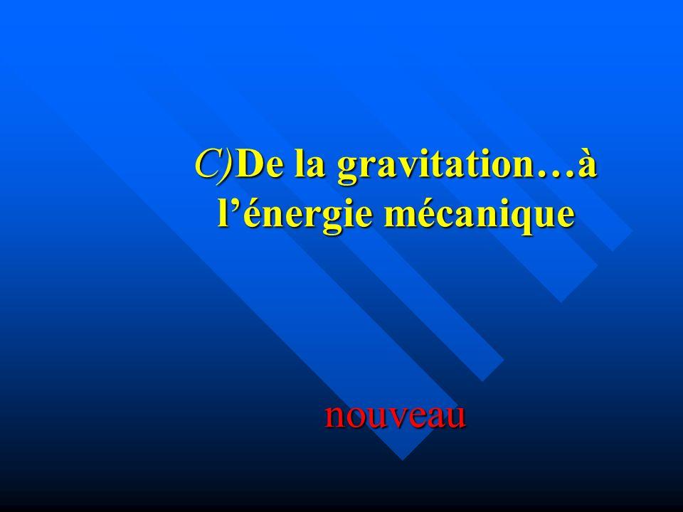 C)De la gravitation…à lénergie mécanique nouveau