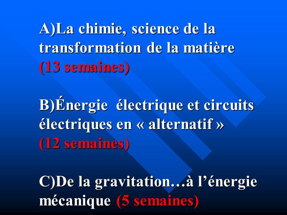 A)La chimie, science de la transformation de la matière (13 semaines) B)Énergie électrique et circuits électriques en « alternatif » (12 semaines) C)D