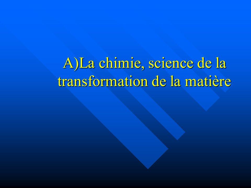 A)La chimie, science de la transformation de la matière