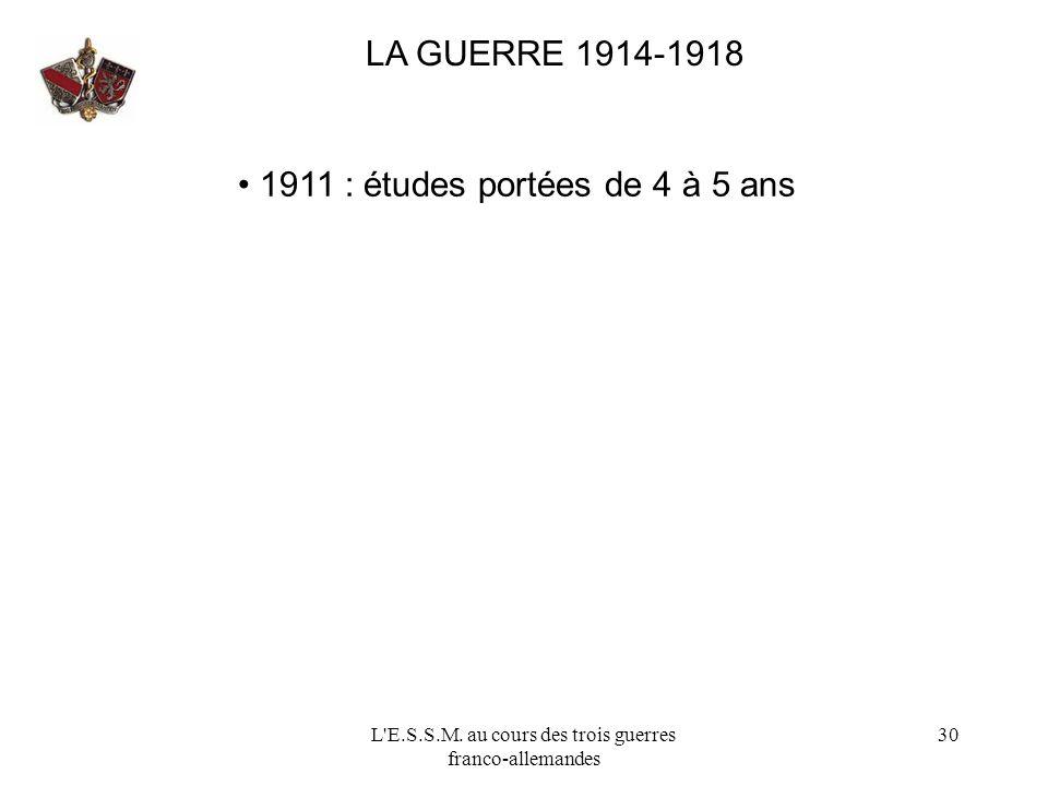 L'E.S.S.M. au cours des trois guerres franco-allemandes 30 LA GUERRE 1914-1918 1911 : études portées de 4 à 5 ans