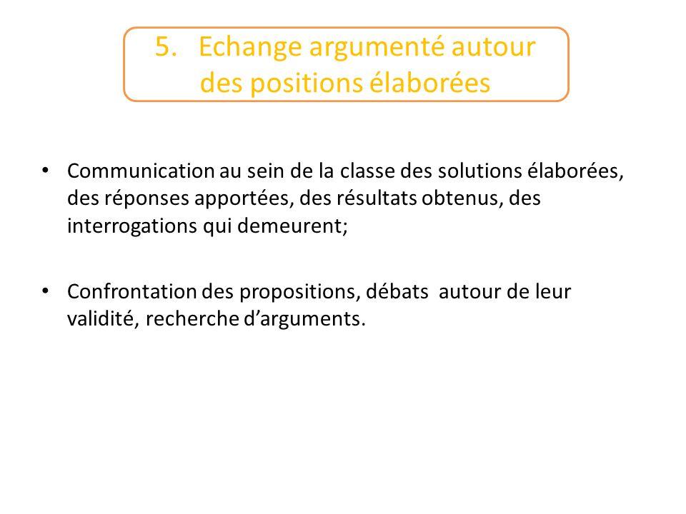 Communication au sein de la classe des solutions élaborées, des réponses apportées, des résultats obtenus, des interrogations qui demeurent; Confronta