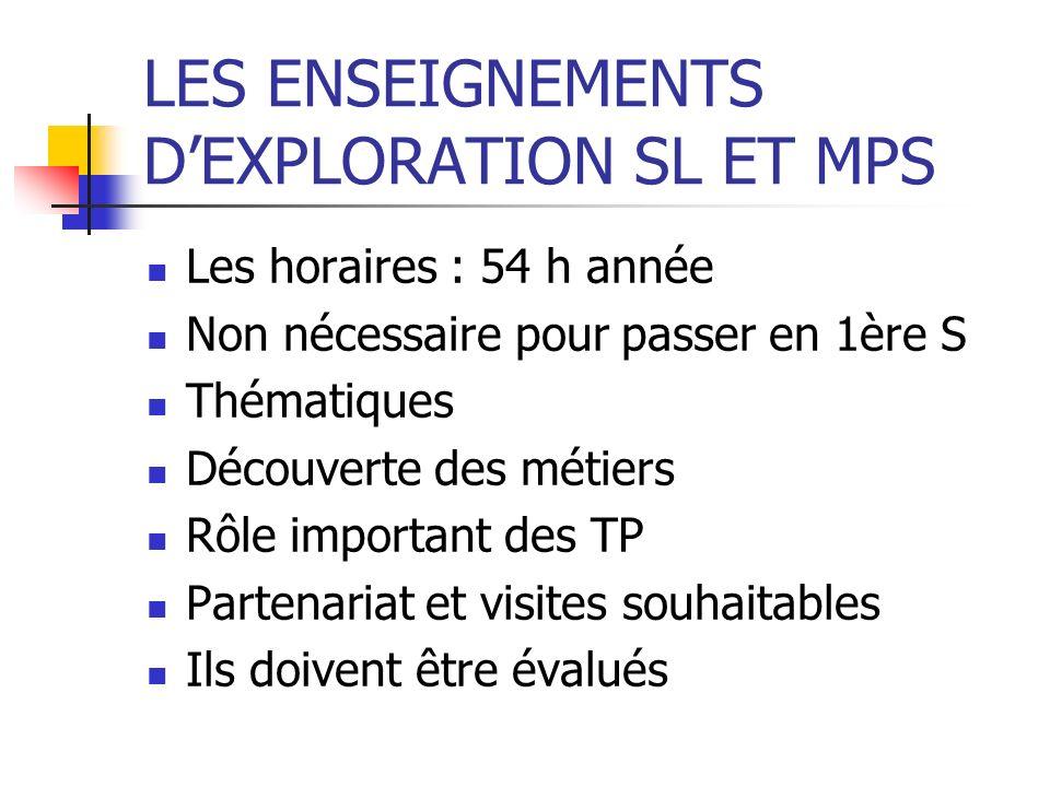 Lenseignement dexploration SL Résultats de la consultation Lenseignement