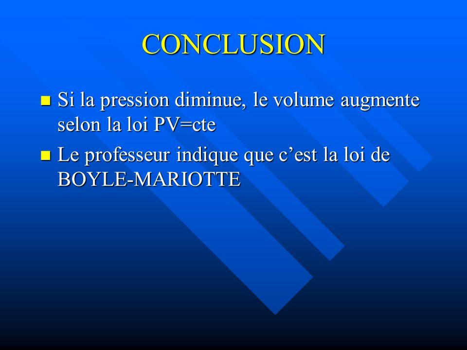 CONCLUSION Si la pression diminue, le volume augmente selon la loi PV=cte Si la pression diminue, le volume augmente selon la loi PV=cte Le professeur