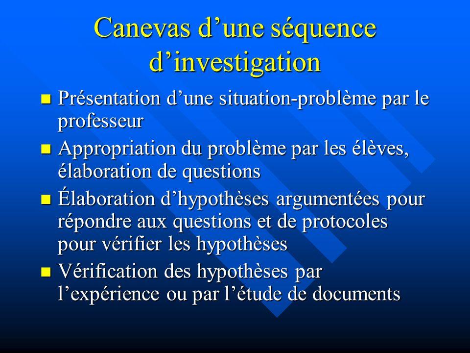 Canevas dune séquence dinvestigation Présentation dune situation-problème par le professeur Présentation dune situation-problème par le professeur App