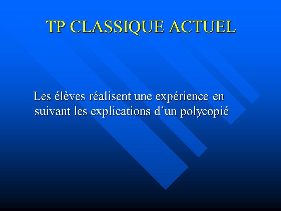 TP CLASSIQUE ACTUEL Les élèves réalisent une expérience en suivant les explications dun polycopié Les élèves réalisent une expérience en suivant les e