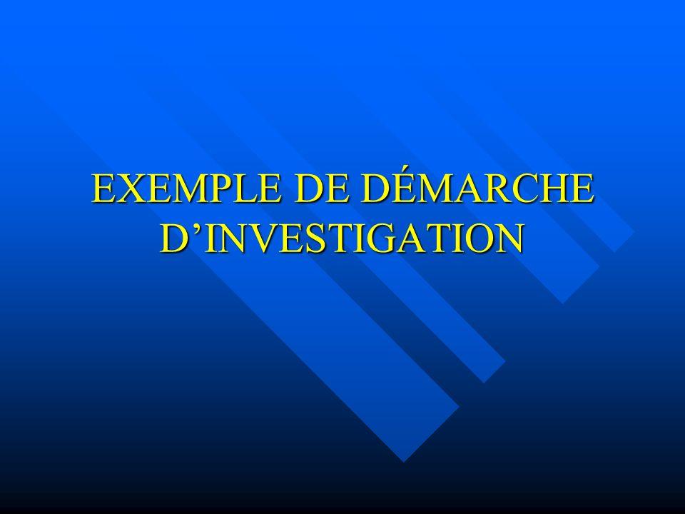 EXEMPLE DE DÉMARCHE DINVESTIGATION