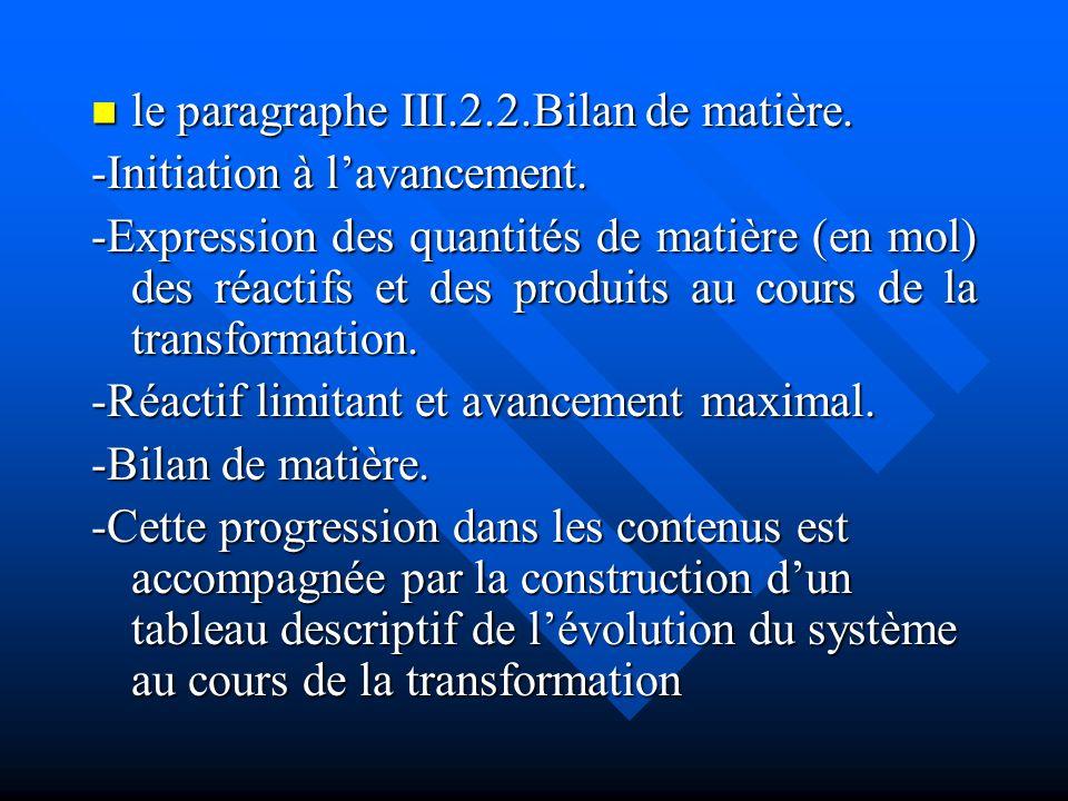 le paragraphe III.2.2.Bilan de matière. le paragraphe III.2.2.Bilan de matière. -Initiation à lavancement. -Expression des quantités de matière (en mo