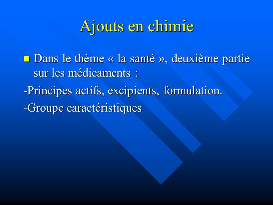 Ajouts en chimie Dans le thème « la santé », deuxième partie sur les médicaments : Dans le thème « la santé », deuxième partie sur les médicaments : -