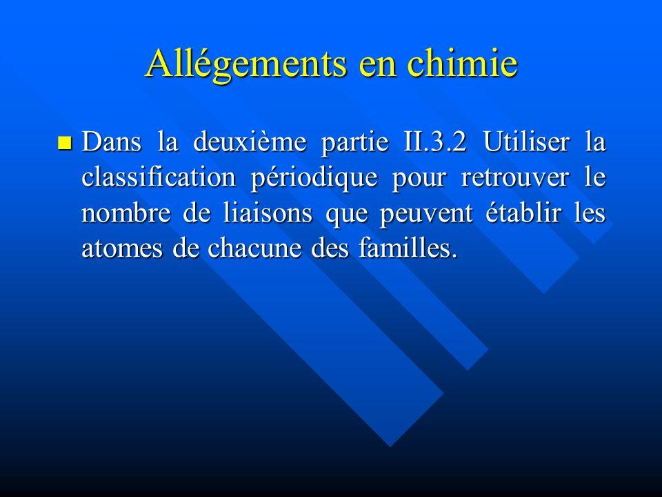 Allégements en chimie Dans la deuxième partie II.3.2 Utiliser la classification périodique pour retrouver le nombre de liaisons que peuvent établir le