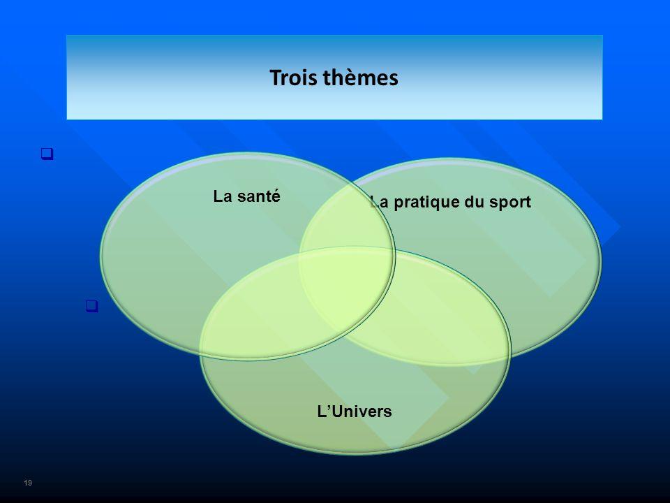 19 La pratique du sport Trois thèmes LUnivers La santé