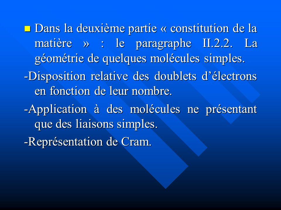 Dans la deuxième partie « constitution de la matière » : le paragraphe II.2.2. La géométrie de quelques molécules simples. Dans la deuxième partie « c