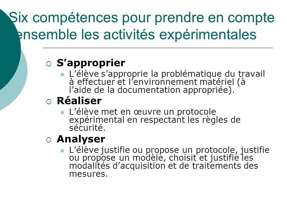 Six compétences pour prendre en compte lensemble les activités expérimentales Sapproprier Lélève sapproprie la problématique du travail à effectuer et