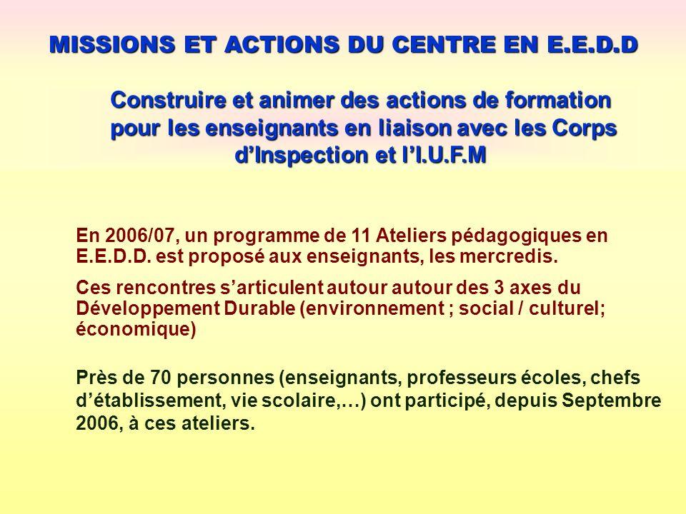 MISSIONS ET ACTIONS DU CENTRE EN E.E.D.D Construire et animer des actions de formation pour les enseignants en liaison avec les Corps dInspection et l