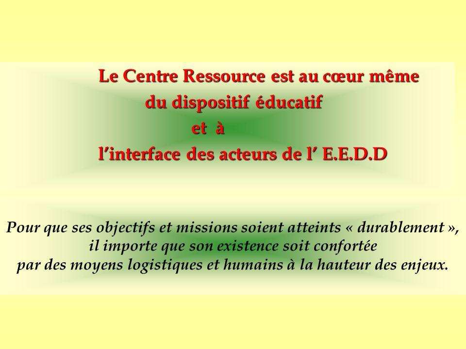 Le Centre Ressource est au cœur même du dispositif éducatif et à linterface des acteurs de l E.E.D.D Pour que ses objectifs et missions soient atteint