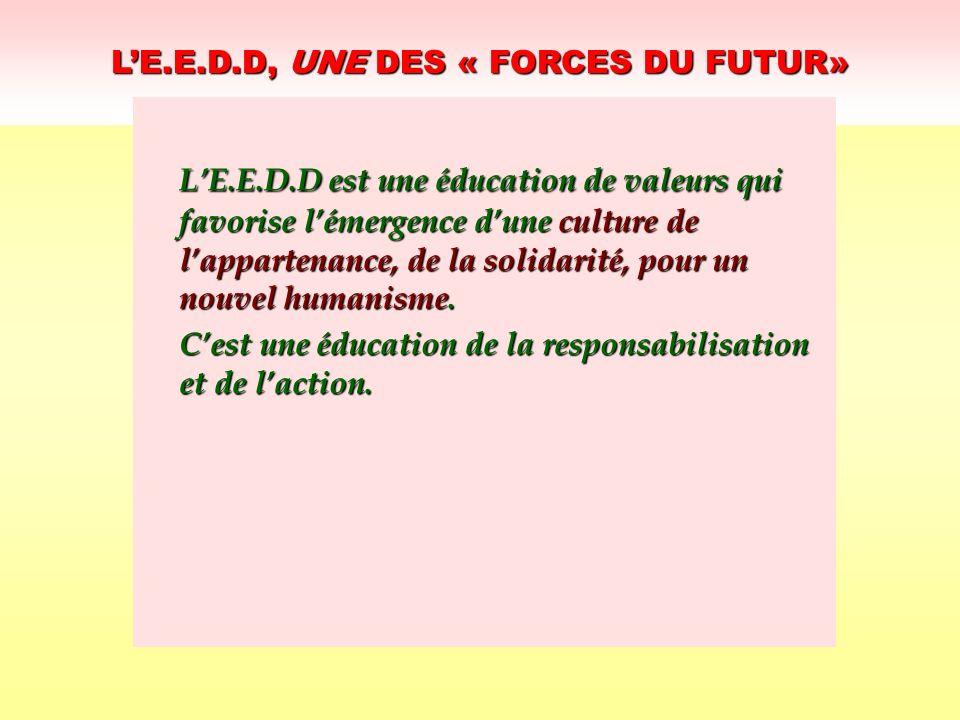 LE.E.D.D, UNE DES « FORCES DU FUTUR» LE.E.D.D est une éducation de valeurs qui favorise lémergence dune culture de lappartenance, de la solidarité, po