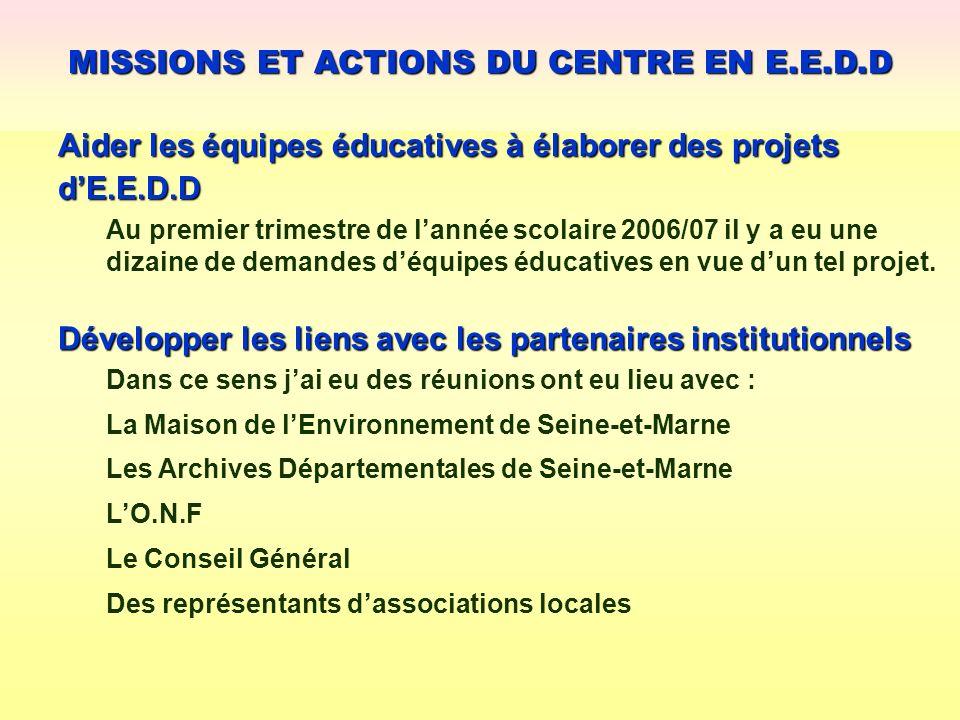 Aider les équipes éducatives à élaborer des projets dE.E.D.D MISSIONS ET ACTIONS DU CENTRE EN E.E.D.D Développer les liens avec les partenaires instit