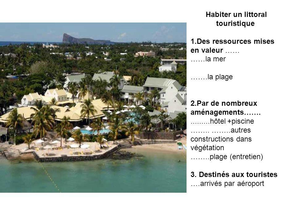 Habiter un littoral touristique 1.Des ressources mises en valeur …… ……la mer …….la plage 2.Par de nombreux aménagements……..........hôtel +piscine ……..