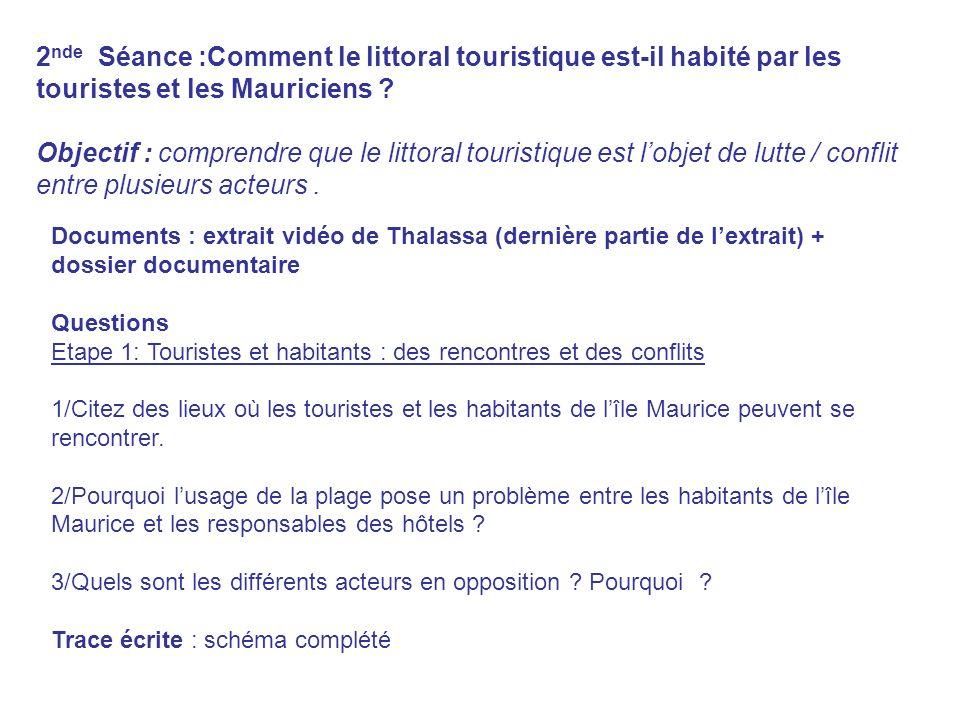 2 nde Séance :Comment le littoral touristique est-il habité par les touristes et les Mauriciens ? Objectif : comprendre que le littoral touristique es