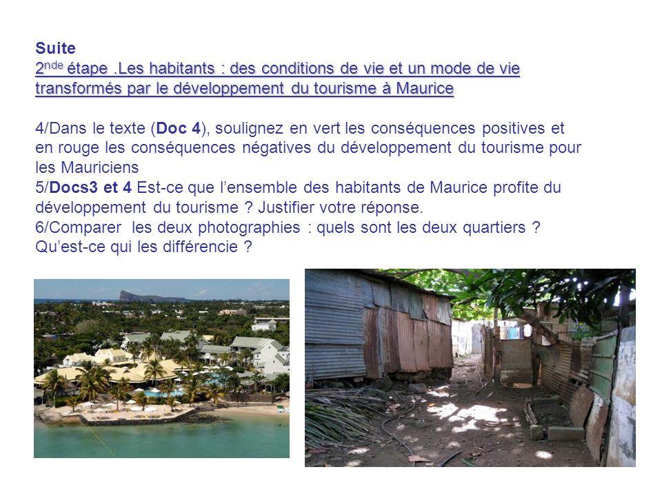 Suite 2 nde étape.Les habitants : des conditions de vie et un mode de vie transformés par le développement du tourisme à Maurice 4/Dans le texte (Doc