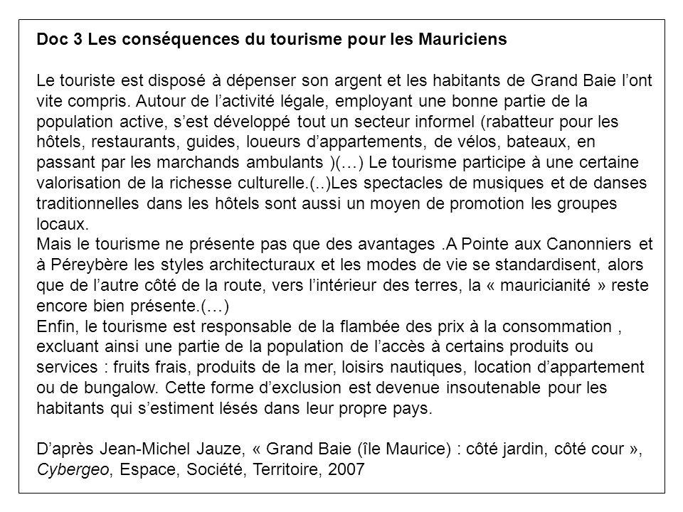 Doc 3 Les conséquences du tourisme pour les Mauriciens Le touriste est disposé à dépenser son argent et les habitants de Grand Baie lont vite compris.