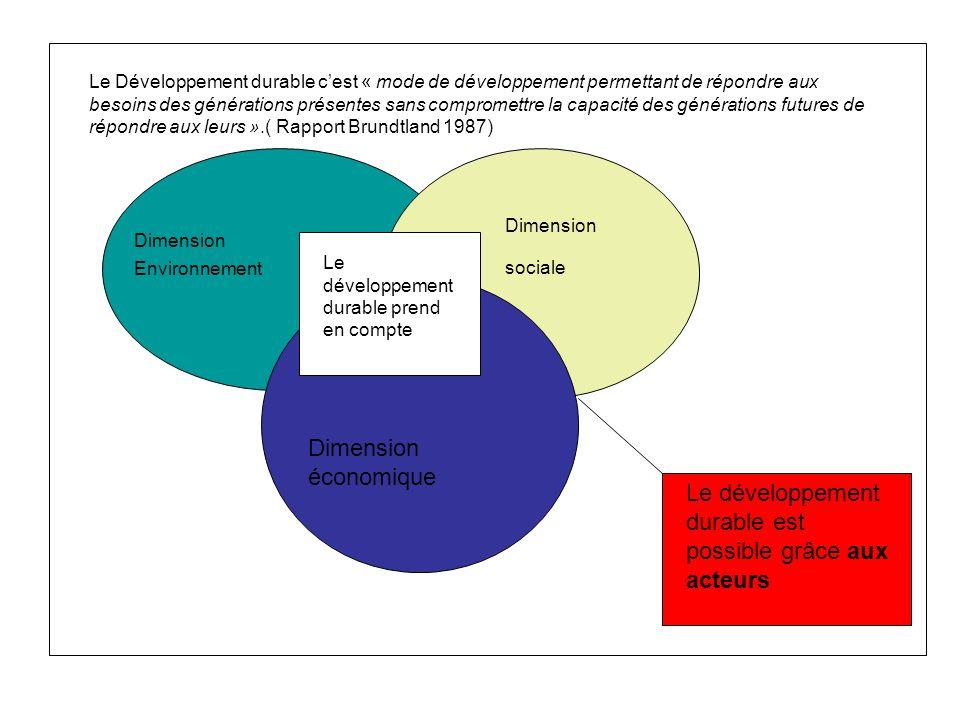 Le développement durable prend en compte Dimension Environnement Dimension économique Dimension sociale Le développement durable est possible grâce au