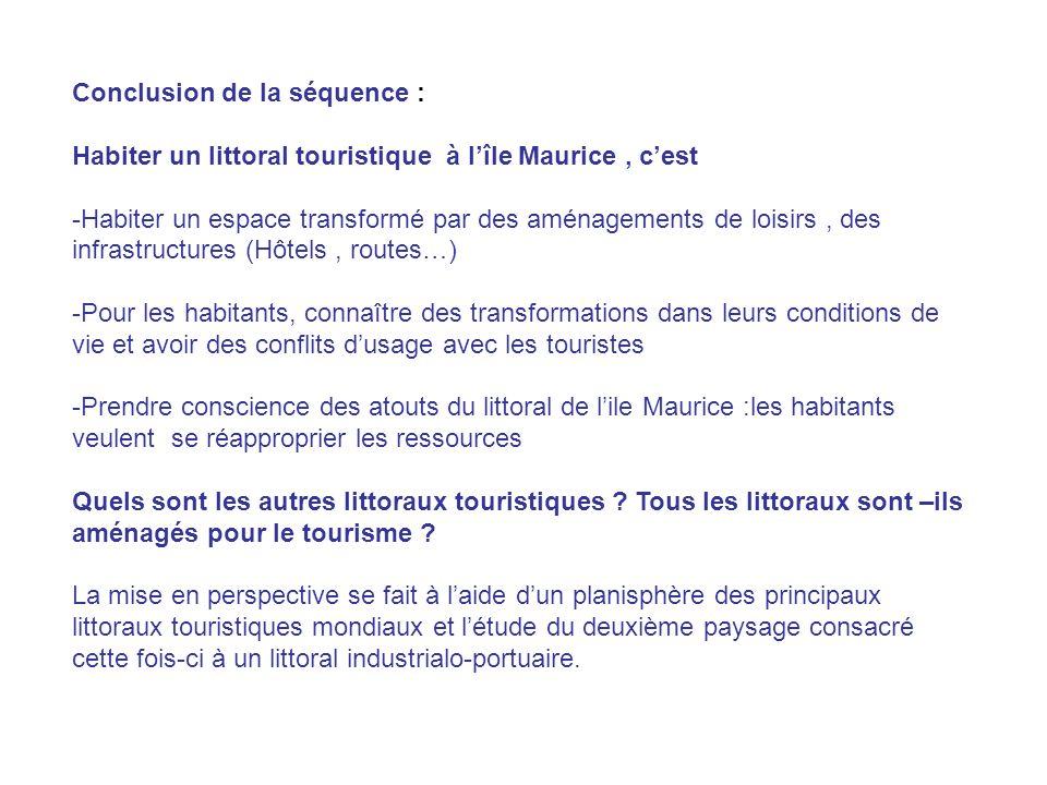 Conclusion de la séquence : Habiter un littoral touristique à lîle Maurice, cest -Habiter un espace transformé par des aménagements de loisirs, des in