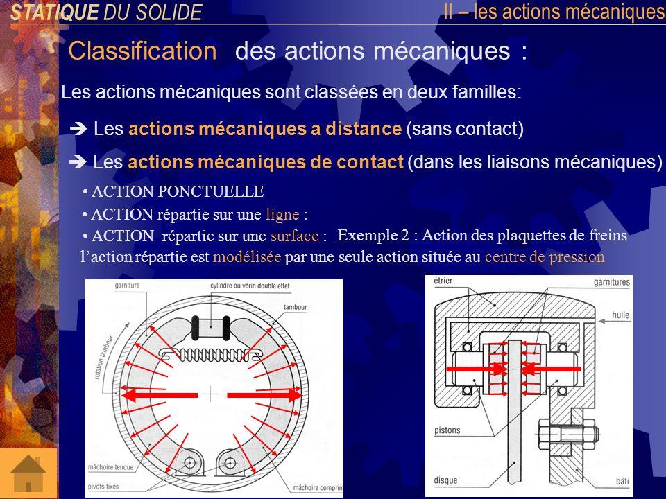 STATIQUE DU SOLIDE III – Isolement et équilibre dun solide Lobjectif de la statique est de calculer lensemble des actions mécaniques appliquées à un solide en équilibre.