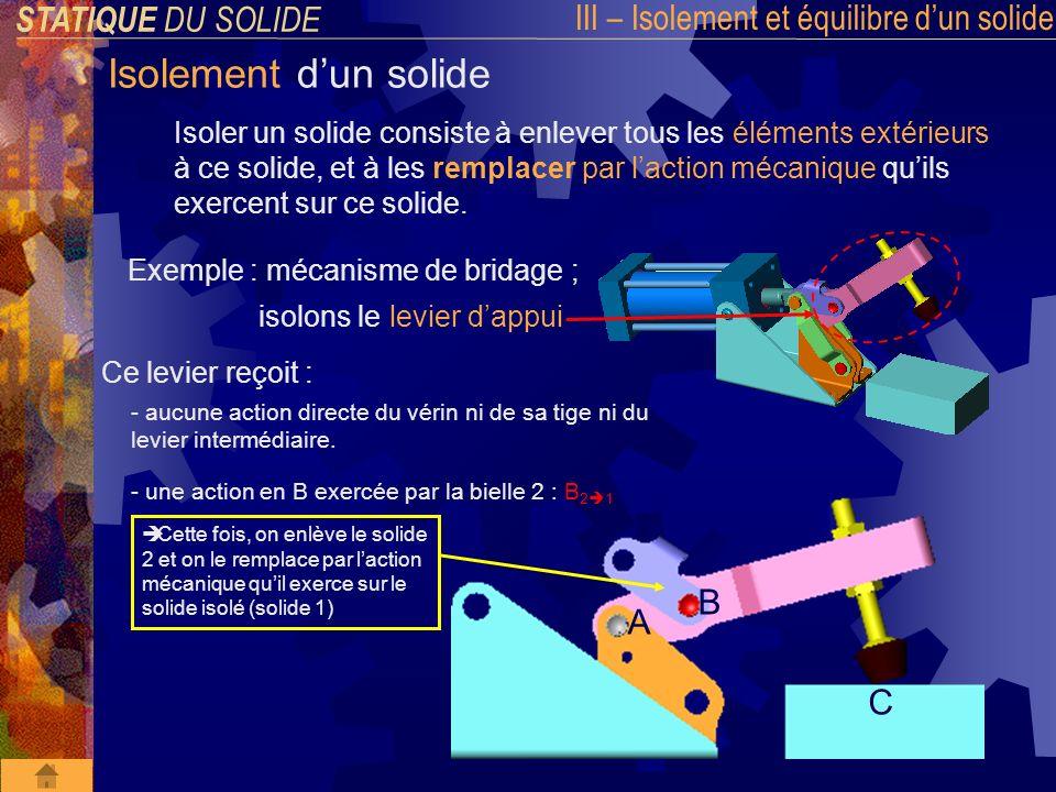 STATIQUE DU SOLIDE III – Isolement et équilibre dun solide Isolement dun solide Isoler un solide consiste à enlever tous les éléments extérieurs à ce solide, et à les remplacer par laction mécanique quils exercent sur ce solide.